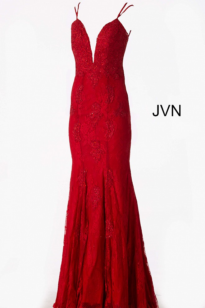 9d6281f4029 Red Fitted Plunging Neckline Lace Prom Dress JVN66971