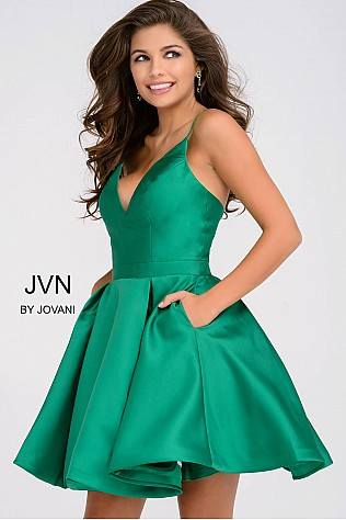 Green Fit and Flare Open Back Homecoming Dress JVN47315