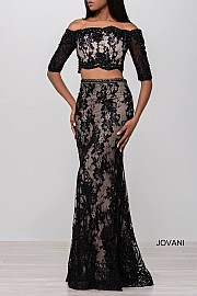 Ivory Lace Off the Shoulder Two Piece Beaded Prom Dress JVN47915