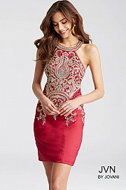 Jvn Red Fit Halter Neck Homecoming Dress JVN55146