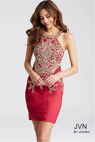 Red Fit Halter Neck Homecoming Dress JVN55146
