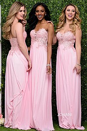Pink Sweetheart Neck Bridesmaid Dress JVN30805