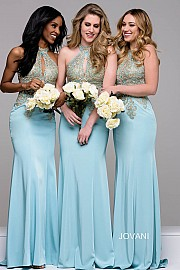 Blue and Gold Halter Neck Jersey Bridesmaid Dress JVN33691