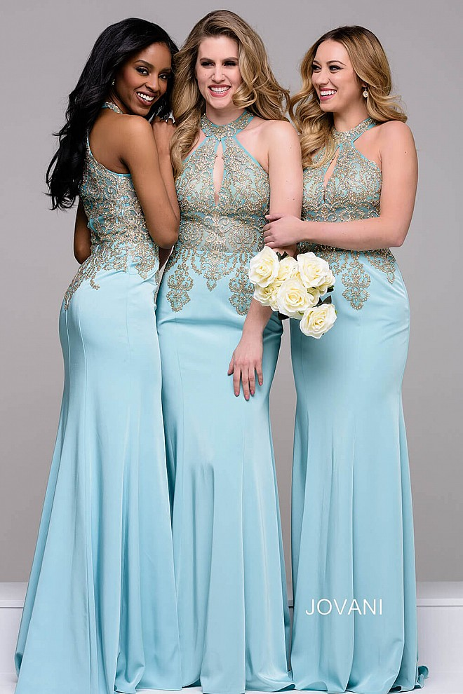 Blue Gold Long Fitted Embroidered Key Hole Neckline Bridesmaid Dress