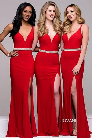 Red Plunging Neckline Jersey High Slit Bridesmaid Dress  JVN37117