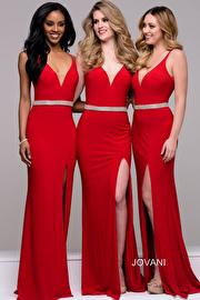 Red Plunging Neckline Jersey High Slit Bridesmaid Dress  JVN37117