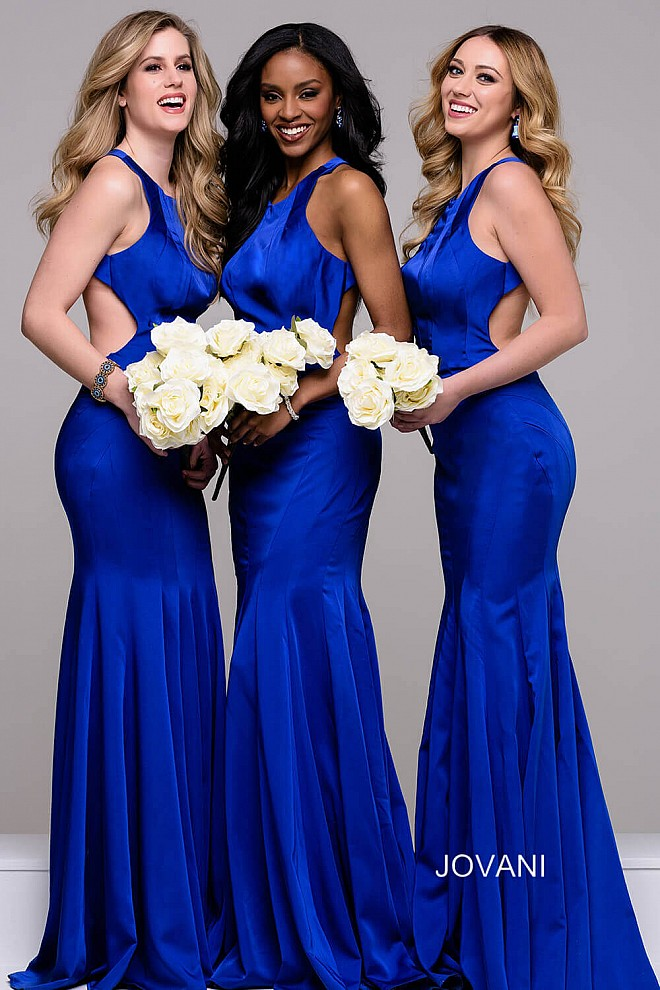 Royal Blue Cut Out Mermaid Open Back Dress JVN41874