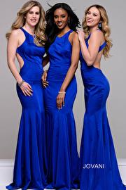 Royal Blue Cut Out Mermaid Open Back Dress JVN41874