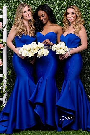 Royal Blue Strapless Mermaid Bridesmaid Dress JVN41956
