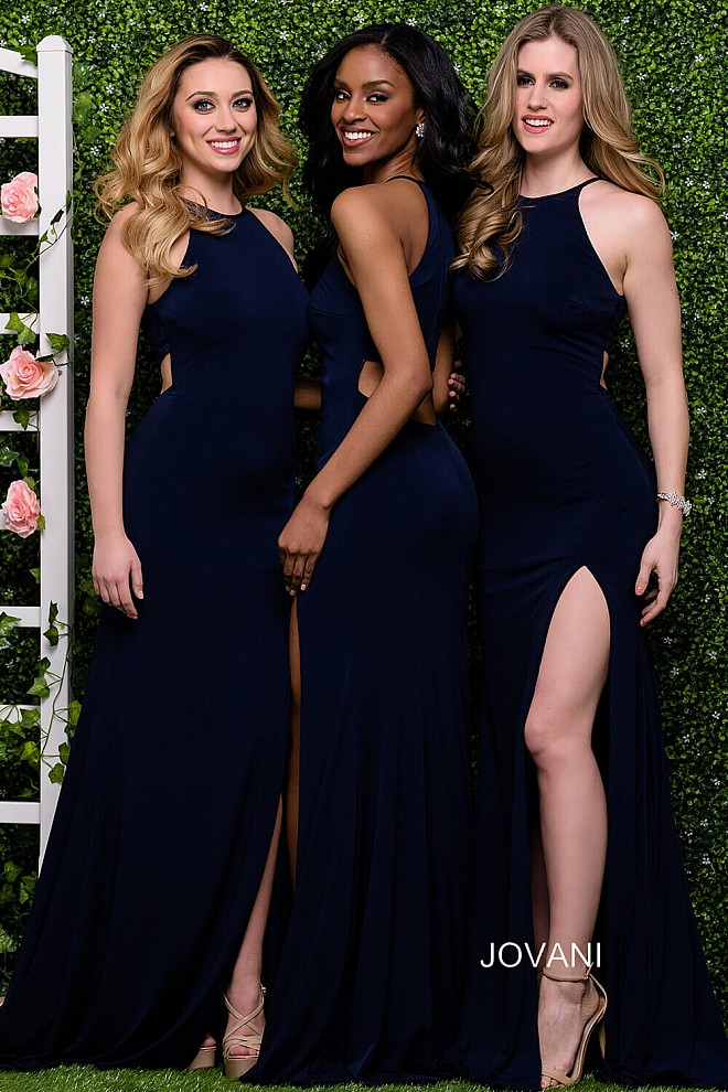 Navy Halter Neck High Slit Bridesmaid Dress JVN43004