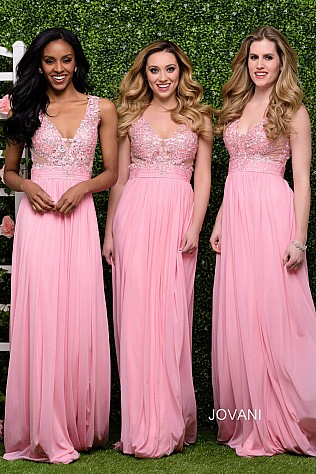 Pink Chiffon Bridesmaid Dress JVN47791