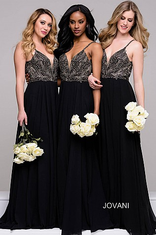 Black Plunging Neckline Chiffon beaded Bridesmaid Dress JVN49647