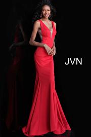 Red Plunging Neckline Mermaid Bridesmaid Dress JVN67089