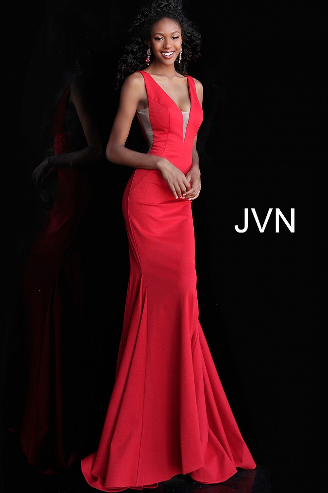 Red Plunging Neckline Mermaid Bridesmaid Dress JVN67089