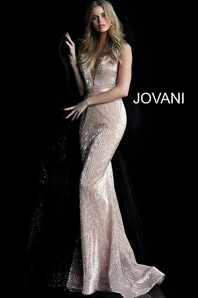 JVN62507 Champagne Fitted Sequin Prom Dress