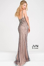 Gunmetal Spaghetti Strap High Slit Beaded Dress JVN36793