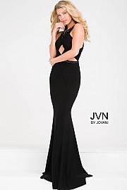 Black Halter Beaded Neckline Jersey Mermaid Dress JVN41543