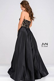 Black and Nude Sweetheart Neck Embellished Bodice Long Bridesmaid Dress JVN45591