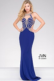 Purple Halter Neck Embellished Bodice and Open Back Jersey Prom Dress JVN47009