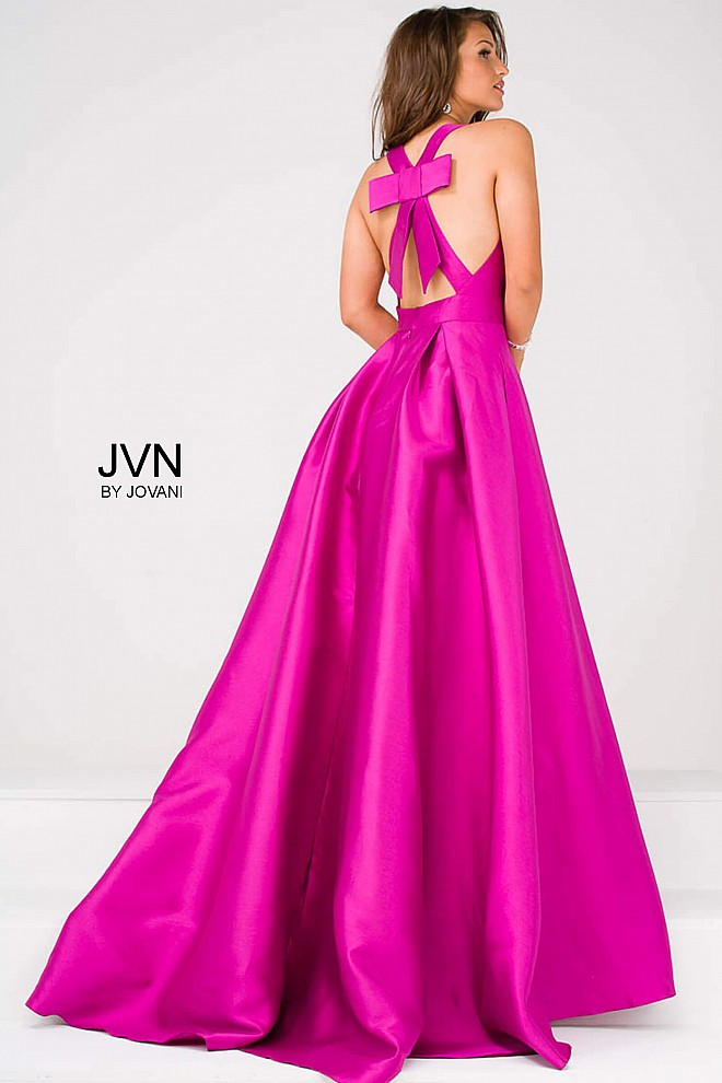 Purple mikado A line long bridesmaid dress with bow details in the back.
