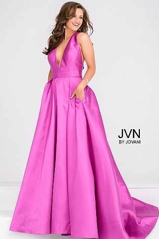 Purple V Neck Mikado Prom Ballgown with Pleated Skirt JVN47530