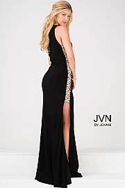 Black Beaded Side Panel  Jersey High Neck Prom Dress  JVN47769