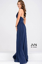 Halter Neck Navy Ruched Bodice Empire Waist Dress JVN47771