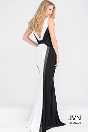 Black and White High Neck Fitted Long Prom Dress JVN47900