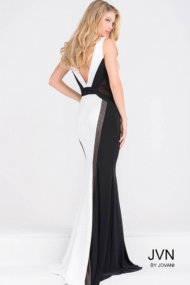 Black and white fitted halter neck floor length prom dress with open ...