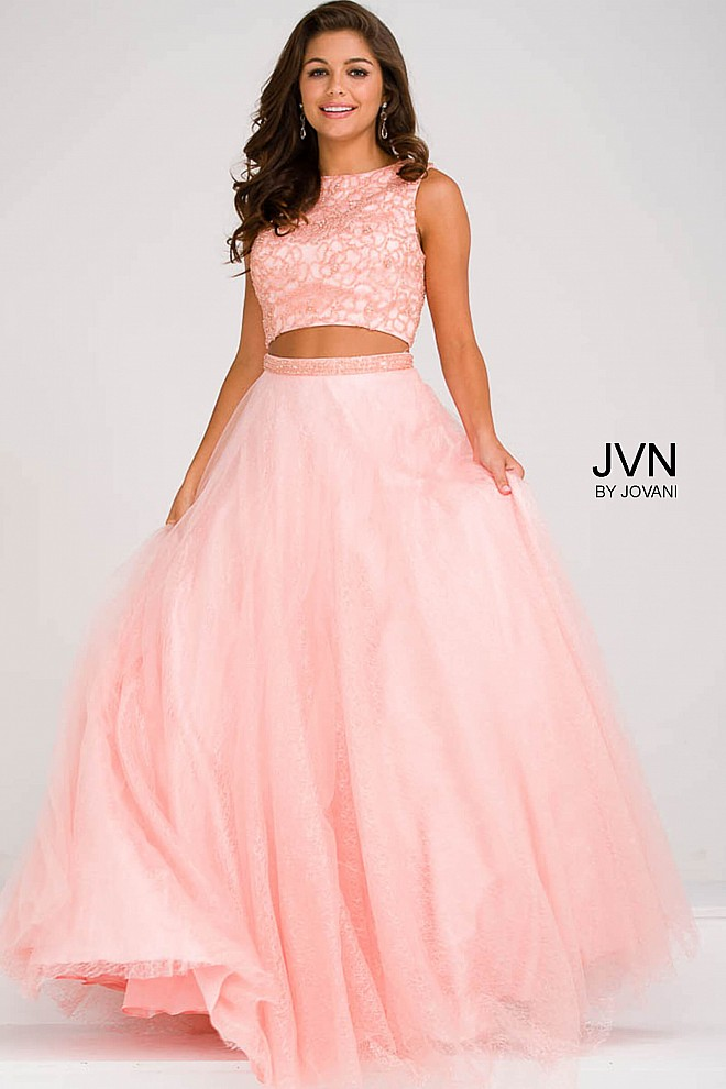 Green sleeveless two piece tulle A line skirt and beaded bodice prom ...