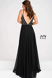 Black Beaded Plunging Neck Bodice Chiffon Dress JVN48495