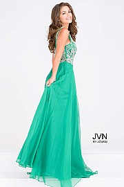 Green Embellished Bodice Chiffon Prom Dress JVN48709