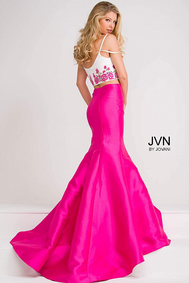 Pink skirt and white multi spaghetti strap bodice mermaid prom ...