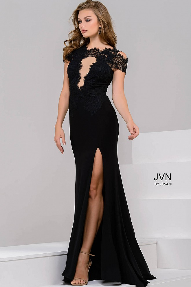 Black Off the Shoulder High Slit Dress JVN43013