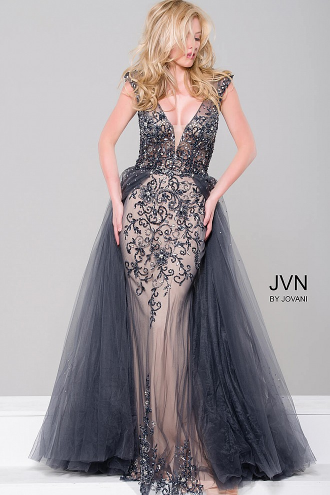Charcoal Embellished Column Dress with Tulle Overlay JVN46081