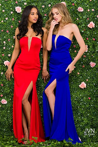 Royal Blue Plunging Neckline High Slit Bridesmaid Dress JVN49580