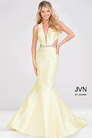 Yellow Taffeta Cut Out V Neckline Prom Dress JVN32425