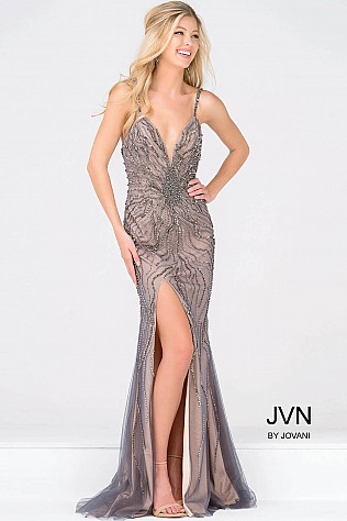 Gunmetal Spaghetti Strap High Slit Beaded Dress JVN36793