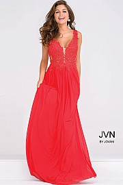 Red Sheer Neckline Embroidery Beaded Long Bridesmaid Dress  JVN41466