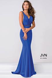 Royal Blue V Neck Jersey open back Prom Dress JVN41678