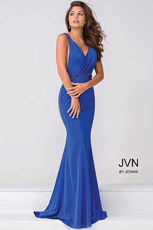 Royal Blue V Neck Jersey open back Prom Dress JVN41678
