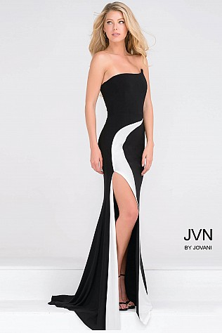 Strapless Black and White Jersey High Slit Dress JVN41844