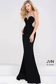 Black Jersey Embellished Neckline Prom Dress JVN45253