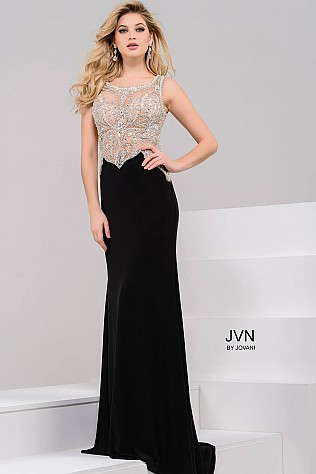 Black and nude Embellished Prom Dress JVN45326