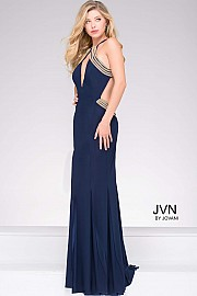 Navy High Slit Halter Neckline Prom Dress with Gold Beading JVN45563