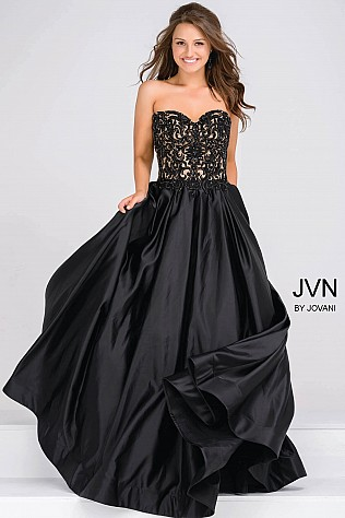 Black and Nude Sweetheart Neck Embellished Bodice Prom Ballgown JVN45591
