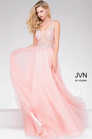 Pink Sheer Neckline and Embroidered Bodice Chiffon Prom Dress JVN47560