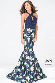 Navy Embellished Bodice Halter Neck Floral Dress JVN47610