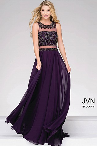 Eggplant Embellished Illusion Bodice Chiffon Dress JVN47720