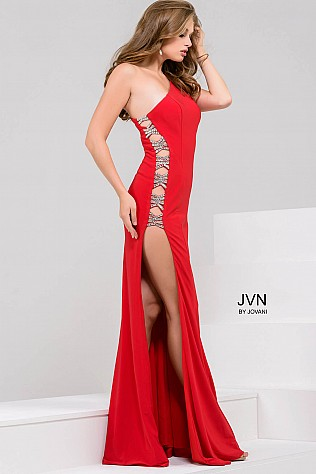 Red Jersey One shoulder High Slit Prom Dress JVN47768